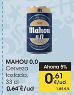 Oferta de MAHOU 0,0 Cerveza tostada, 33 cl por 0,61€