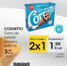 Oferta de CORNETTO Cono de helado classico, 6x90 ml por 3,99€