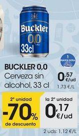 Oferta de BUCKLER 0,0 Cerveza sin alcohol, 33 cl por 0,57€