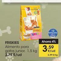 Oferta de FRISKIES Alimento para gatos junior o control de bolas pelo, 1,5 kg por 3,59€