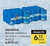 Oferta de AQUARIUS Bebida isotónica de limón o naranja,  9x33 cl por 6,12€