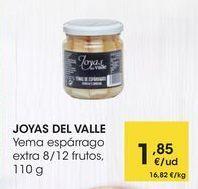 Oferta de JOYAS  DEL VALLE Yema espárrago extra 8/12 frutos,  110 g por 1,85€