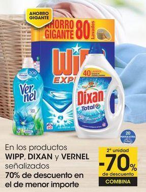 Oferta de En los productos WIPP, DIXAN y VERNEL señalizados 70% de descuento en el de menor importe por
