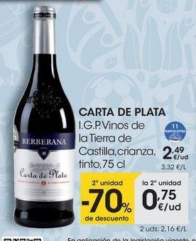 Oferta de CARTA DE PLATA I.G.P. Vinos de la Tierra de Castilla, crianza, tinto, 75 cl por 2,49€