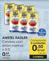 Oferta de AMSTEL RADLER Cerveza con limón normal o 0,0 por 0,63€
