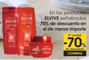 Oferta de En los productos ELVIVE señalizados 70% de descuento en el de menor importe por