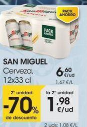 Oferta de SAN MIGUEL Cerveza, 12x33 cl por 6,6€