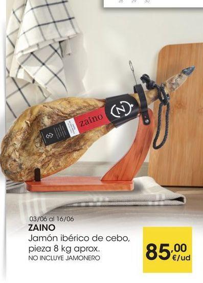 Oferta de ZAINO Jamón ibérico de cebo, pieza 8 kg aprox. NO INCLUYE JAMONERO por 85€