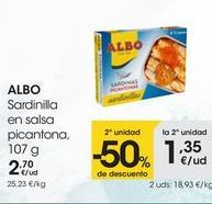 Oferta de ALBO Sardinilla en salsa picantona, 107 g por 2,7€