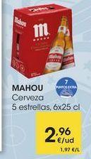 Oferta de MAHOU Cerveza 5 estrellas, 6x25 cl por 2,96€