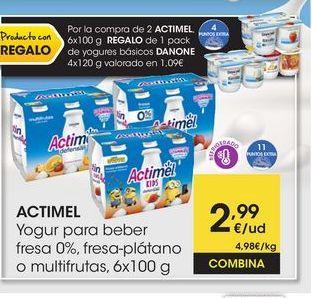 Oferta de ACTIMEL Yogur para beber fresa 0%, fresa-plátano o multifrutas, 6x100 g por 2,99€