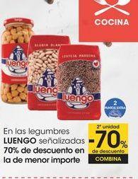 Oferta de En las legumbres LUENGO señalizadas 70% de descuento en la de menor importe por