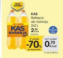 Oferta de KAS Refresco de naranja, 2x2 L por 2,33€