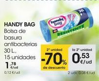 Oferta de HANDY BAG Bolsa de basura antibacterias 30 L., 15 unidades por 1,78€