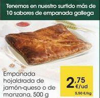 Oferta de Empanada hojaldrada de jamón-queso o de manzana, 500 g por 2,75€