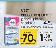 Oferta de VEET Bandas corporales gelwax pieles sensibles, 20 unidades por 4,35€