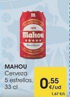 Oferta de MAHOU Cerveza 5 estrellas, 33 cl por 0,55€