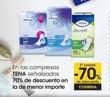 Oferta de En las compresas TENA señalizadas 70% de descuento en la de menor importe por