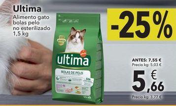 Oferta de Ultima alimento gato bolas pelo no esterilizado 1,5kg por 5,66€