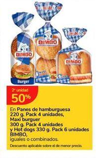 Oferta de En Panes de hamburguesa Pack 4 unidades, Maxi Burguer Pack 4 unidades y Hot dogs Pack 6 unidades BIMBO por