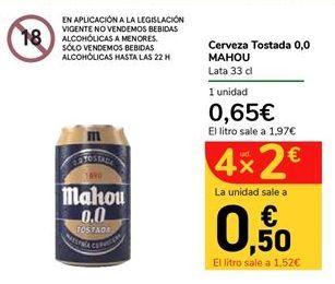 Oferta de Cerveza Tostada 0,0 MAHOU por 0,65€