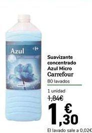 Oferta de Suavizante concentrado Azul Micro Carrefour por 1,3€