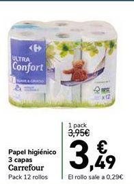Oferta de Papel higiénico 3 capas Carrefour por 3,49€