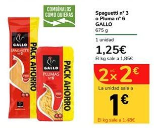 Oferta de Spaguetti nº3 o Pluma nº6 GALLO por 1,25€