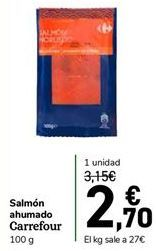 Oferta de Salmón ahumado Carrefour por 2,7€