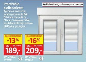 Oferta de Ventana oscilobatiente por 189€