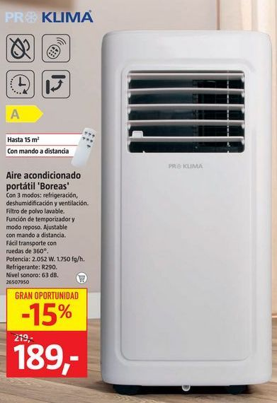 Oferta de Aire acondicionado portátil por 189€