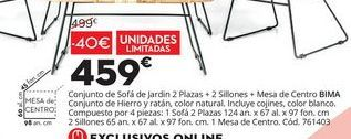 Oferta de Conjunto de Sofá de jardín 2 plazas+2 sillones +Mesa de centro BIMA por 459€