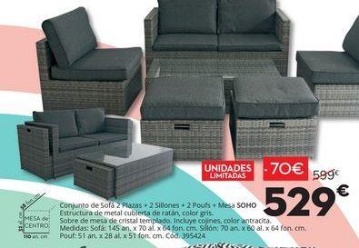Oferta de Conjunto de sofá 2 plazas + 2 sillones+2 poufs +Mesa SOHO por 529€