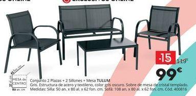 Oferta de Conjunto 2 plazas + 2 sillones + Mesa TULUM  por 99€