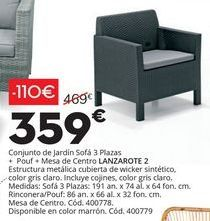 Oferta de Conjunto de jardín Sofa 3 plazas por 359€