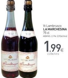 Oferta de Vi Lambrusco LA MARCHESINA por 1,99€