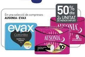 Oferta de En una selecció de compreses AUSONIA i EVAX por