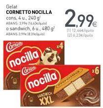 Oferta de Gelat CORNETTO NOCILLA por 2,99€