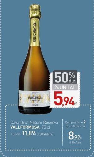 Oferta de Cava Brut Nature Reserva VALLFORMOSA por 11,89€