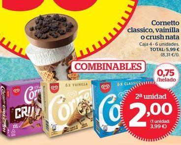 Oferta de Cornetto Crush Cookie, Vainilla o Classico por 2€