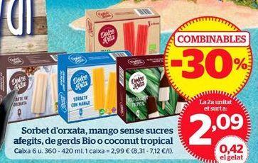 Oferta de Sorbete de horchata, mango sin azúcares añadidos, de frambuesa Bio o coconut tropical por 2,09€