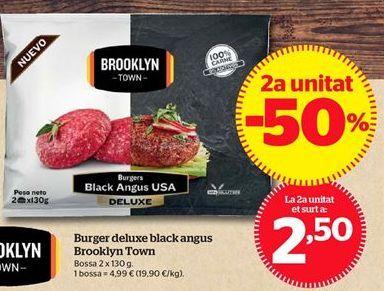 Oferta de Burger deluxe black angus Brooklyn Town por 2,5€