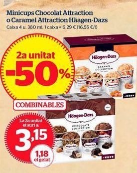 Oferta de Minicups Chocolat Attraction o Caramel Attraction Häagen-Dazs por 3,15€