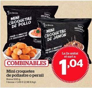 Oferta de Mini croquetas de pollo o jamón por 1,04€