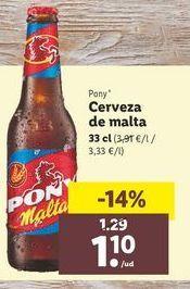 Oferta de Cerveza Pony por 1,1€