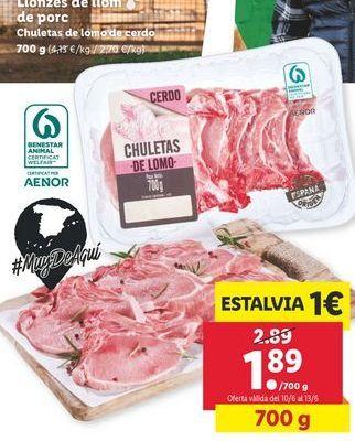 Oferta de Chuletas de cerdo por 1,89€