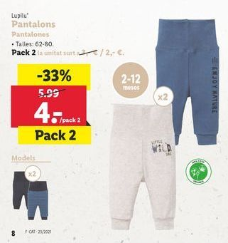 Oferta de Pantalones bebé por 4€