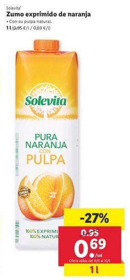 Oferta de Zumo de naranja solevita por 0,69€