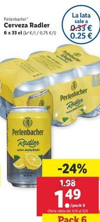 Oferta de Cerveza con limón por 1,49€