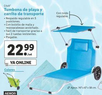 Oferta de Tumbona de playa Crivit por 22,99€